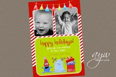 Christmas Greeting Card Monsters  Holiday by AsYouWishCreations4u