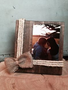 Wooden twine and burlap frame on Etsy, $20.00