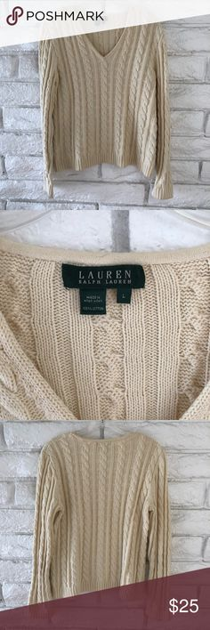 Ralph Laurent V Neck Sweater In good pre-loved condition a great classy everyday Ralph Lauren sweater. Size L Cream color 100% cotton V neck Lauren Ralph Lauren sweater. Lauren Ralph Lauren Sweaters V-Necks