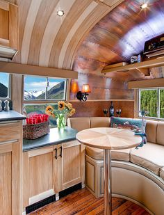 "BEAUTIFUL! Make that elf/gnome/GYPSY blood.  ""Homes""; Restored 1954 Airstream Flying Cloud Travel Trailer - Interior"