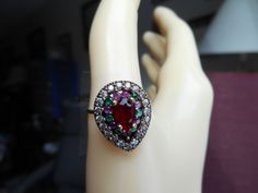 Vintage Deco 0.81ctw Ruby, Emerald & White Sapphire Gold/925 Sterling Silver Ring Sz.8.75, Wt. 3.9g