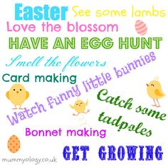 Easter Holiday Survival list!