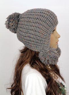 Slouchy Woman Handmade Knitted Hat Clothing Cap on Luulla Crochet Woman, Love Crochet, Knit Crochet, Crochet Hats, Knitted Headband, Knitted Hats, Hand Knitting, Knitting Patterns, Kids Hats