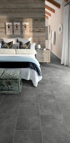 Bedroom featuring Secura PUR luxury vinyl sheet flooring in Plymouth Slate