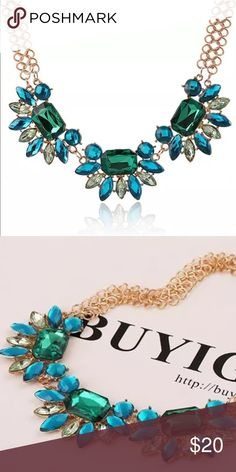 New Green & Blue Flower Bib Statement Necklace Beautiful Gold color necklace with 3 Blue & green crystal flowers. Appox L 17'-20' Jewelry Necklaces