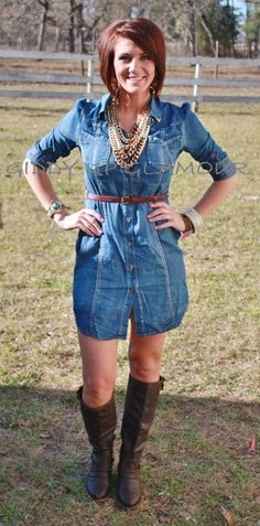 Giddy Up Glamour  de Nimes Denim Dress with Belt  $42.95
