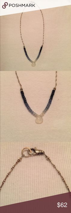 Sundance Catalog Ombré Necklace Very cute delicate necklace with blue beads and crystal teardrop at the center. Silver. Minimal wear and in perfect condition. Sundance Jewelry Necklaces