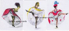 A21 SET OF 3 swap playing cards MINT COND risque French Can Can Dancers LINEN #1