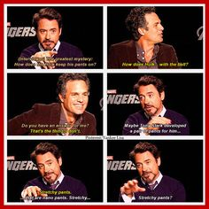 RDJ and Mark Ruffalo theorize about the Hulk's pants.
