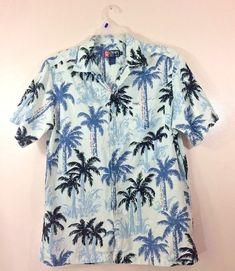 fac360a65 VTG Chaps Ralph Lauren Signature Spellout All Over Mens Medium Shirt Palm  Trees
