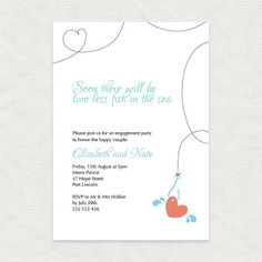 hooked on you engagement party invitation by idoityourself