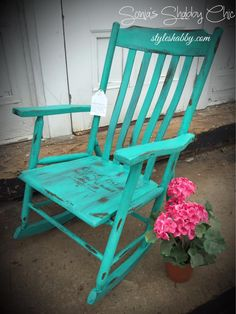 Shabby distressed rocker done in Teal River Junk Monkey chalky paint!
