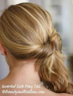 For when you just want to get your hair off your neck, do an inverted ponytail on the side.