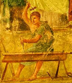 Fresco of a carpenter at work, from the House of the Vettii. Around 200… Ancient Ruins, Ancient Artifacts, Ancient Rome, Ancient History, European History, Ancient Greece, American History, Pompeii Italy, Pompeii And Herculaneum