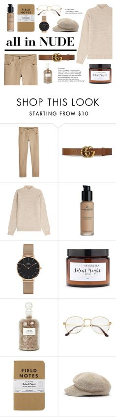 """""""all in NUDE"""" by kate0810 ❤ liked on Polyvore featuring Brunello Cucinelli, Gucci, AG Adriano Goldschmied, Daniel Wellington, Silent Night and Mullein & Sparrow"""
