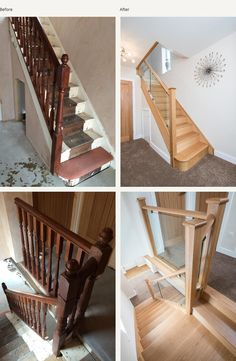 Your daily dose of Inspiration: Before and after glass and wood staircase renovations – Medlock Staircases Staircase Banister Ideas, House Staircase, Staircase Remodel, Staircase Makeover, Modern Staircase, Staircase Design, Bannister Ideas, Wood Railings For Stairs, Craftsman Staircase