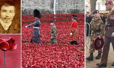 Procession: Military cadet, Harry Alexander Hayes, (C) and artist Paul Cummins (R) place the last ceramic poppy in the moat of Tower of London to mark Armistice Day (Picture: Getty) World War One, First World, Planting Poppies, Ceramic Poppies, Remembrance Day Poppy, French Nursery, Sea Of Poppies, Armistice Day, Flanders Field