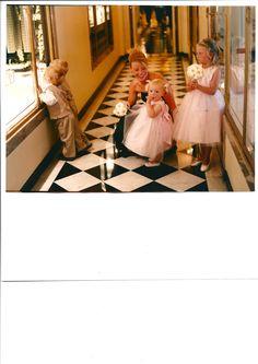 Cute Bridesmaids with Gerbera daisies at Claridges
