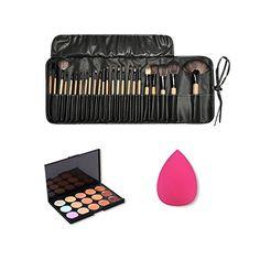 Jmkcoz 24pcs Makeup Brushes Set Cosmetic Brush Bag 15 Colors Concealer Palette Contour Kit  1PC Beauty Blender Makeup Sponges Makeup Kit >>> You can get more details by clicking on the image.