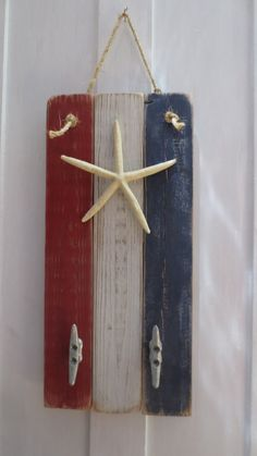 Beach Decor Starfish Wall Hanging American Flag Patriotic Boat Cleat Seaside Decor Independence Day July 4th Nautical Decor by StarfishEnterprises on Etsy https://www.etsy.com/listing/154794161/beach-decor-starfish-wall-hanging