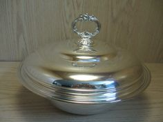 Silver Plate Casserole Dish With Glass Insert  #Unknown