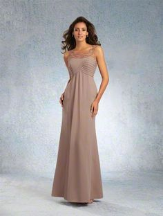 Alfred Angelo Style 8100L: Floor length bridesmaid dress with soft sheer net yoke with beading