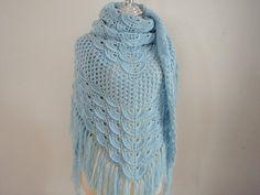 Crochet Triangular Shawl in Baby Blue by NRWhandmade on Etsy