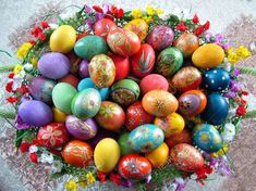 Beautiful painted easter eggs in a basket Eggs In A Basket, Easter Baskets, Egg Alternatives, Handmade Candles, Handmade Gifts, Greek Easter, Easter Story, Easter Brunch, Diy Crafts For Kids