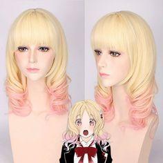Medium Full Bang Curly Komori Yui Diabolik Lovers Cosplay Synthetic Wig