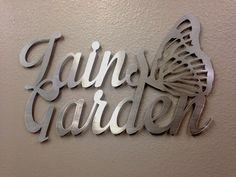 Personalized Metal Garden Art  Custom Garden Sign by INSPIREMEtals, $120.00.Lovin' the butterfly.  Great for the backyard garden area.  <3