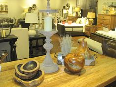 ASHLEY Furniture Homestore, Atrium, Dartmouth, NS.  Teak wood bowls and Teak wood Pear and apple with resin....Beautiful!