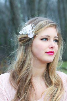 bridal headpiece bridal feather hair clip feather fascinator