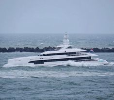 Heesen's new 48m Home on sea trials in a rough North Sea as seen by @dutchyachting
