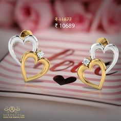 Love this cutesy heart studs? Shop now to get Flat Off. Baby Tops, Indian Online, Class Design, Valentines Day Hearts, Heart Of Gold, Heart Earrings, Gold Jewellery, Studs, Jewelry Design