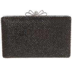 3a7420d89e Womens Elegance Bow Clasp Black Rhinestones Wedding Flat Clutch Purse  Bridal Evening Bag