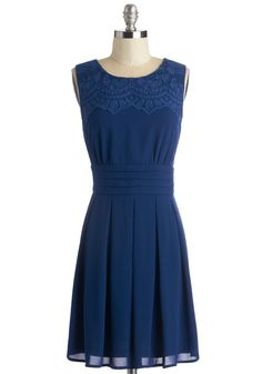 V.I.Pleased Dress in Cobalt - Blue, Solid, Pleats, Wedding, Party, Bridesmaid, A-line, Sleeveless, Variation, Mid-length, Embroidery