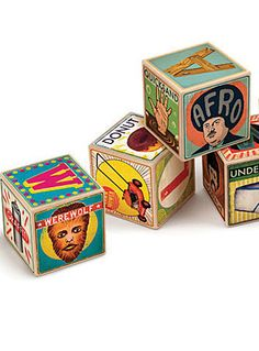 Hipster Baby Alphabet Blocks   0 reviews  A modernized version of the classic ABC blocks, these XYZ blocks offer all 26 letters, 52 illustrated words, 11 numbers, and 6 moods with a quirky urban hipster twist.
