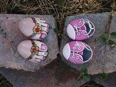 TINY TENNIES big smiles - hand painted rock fun. $24.00, via Etsy.