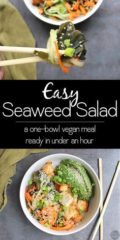 Easy seaweed salad can be an appetizer, side dish, or a whole meal with some rice or noodles to go with. It's a recipe that you can throw together even on a busy weeknight. It comes together in about half an hour. Thanks to Glue & Glitter Tofu Recipes, Delicious Vegan Recipes, Dairy Free Recipes, Lunch Recipes, Asian Recipes, Dinner Recipes, Healthy Recipes, Healthy Foods, Yummy Food