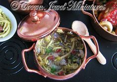 OOAK ARTIST Copper Pot Savory Vegetable & by CrownJewelMiniatures