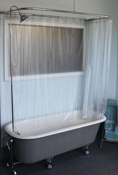 Sewing Machine Sink Clawfoot Tub Shower Curtain Bathroom