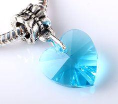 European Heart, Crystal Heart, Blue Heart, Heart Charms, Heart Pendants, European Charms, Bails, Bails with Hearts, Slider Beads,