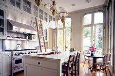 kitchen with ladder