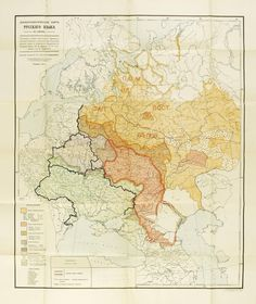 Linguistic map of Russian languages from 1914, with some 2014 borders.