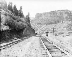 # 43 Allen, Colo - Glenwood Canyon - Western History - Denver Public Library Western History/Genealogy Digital Collections Glenwood Canyon, Old Town, Black And White Photography, Railroad Tracks, Westerns, Colorado, United States, Denver, Adventure
