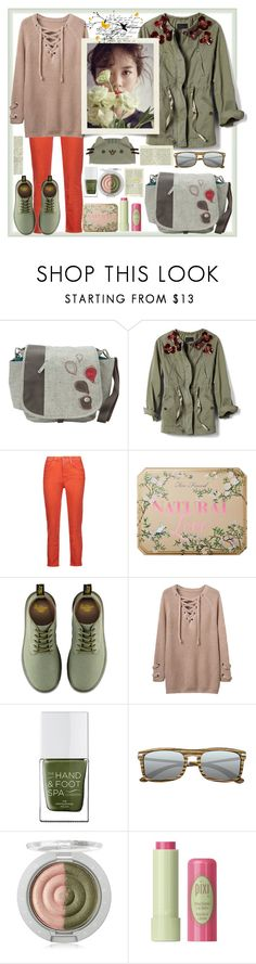 """Khaki & palette"" by natalyapril1976 on Polyvore featuring Haiku, Banana Republic, Acne Studios, Too Faced Cosmetics, Dr. Martens, WithChic, The Hand & Foot Spa, Earth, Pixi and Pusheen"