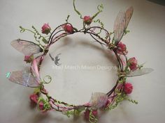 Pre Order Faerie Crown in deep rose with faerie by MadMarchMoon, £28.00