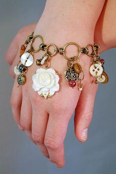 vintage bracelet vintage buttons vintage jewelry by janetskinner, $45.00