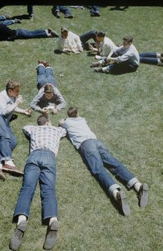 """1950sunlimited: """" Boys on the grass, New Trier High School 1950 """""""