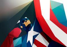 ilustración poligonal capitan america por Liam Brazier